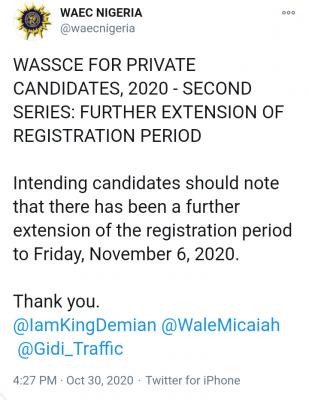 WAEC extends 2020 GCE registration deadline (2nd Series)