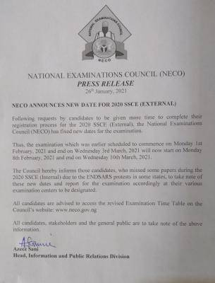 NECO announces new date for commencement of 2020 SSCE (External)