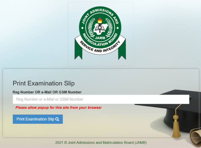 JAMB 2021 exam slip printing begins -  see procedure
